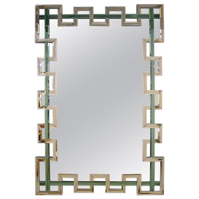 Contemporary Italian Geometric Murano Glass Mirror With Aqua Green Ribbon For Sale
