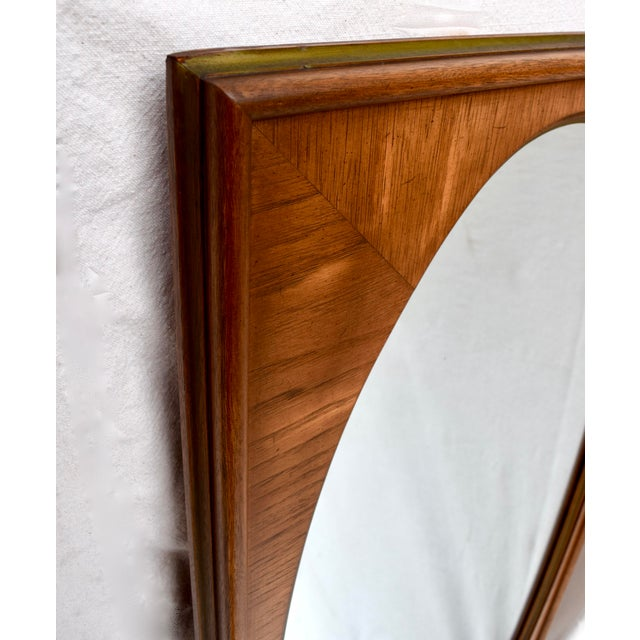 Metal 1950's White of Mebane Walnut Oval Mirrors - a Pair For Sale - Image 7 of 9