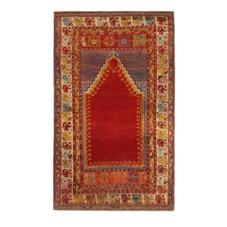 Antique Kirsehir Geometric Red and Gold Wool Rug- 3′7″ × 5′6″ For Sale