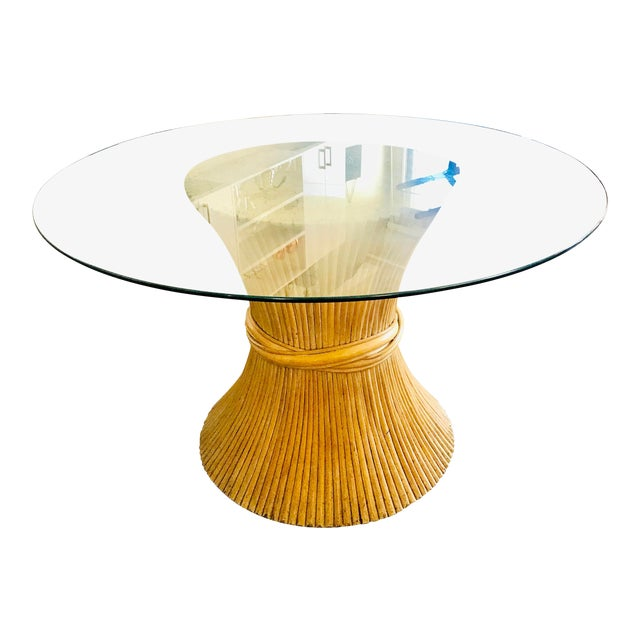 1980s Hollywood Regency Sheaf of Wheat Bamboo Pedestal Dining Table For Sale