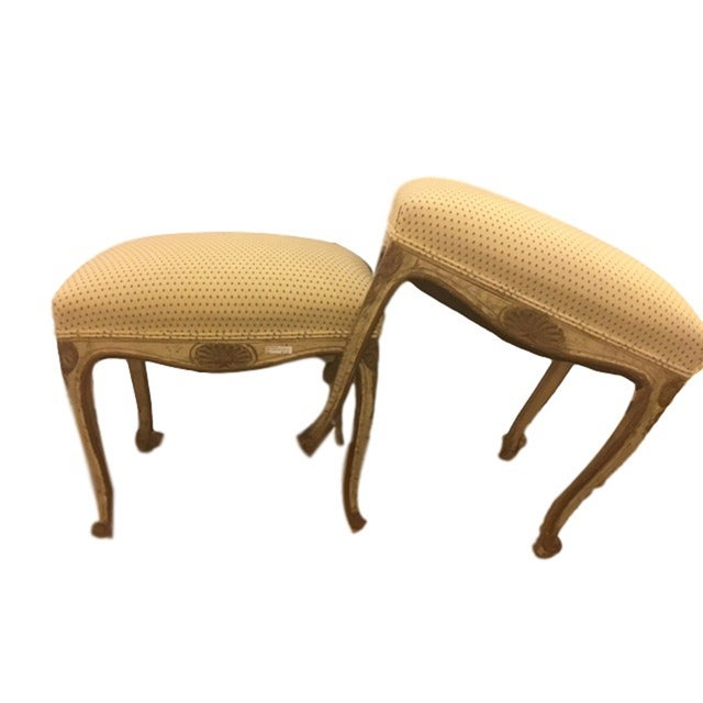 Gold French Carved and Painted Stools with Gilt - A Pair For Sale - Image 8 of 8