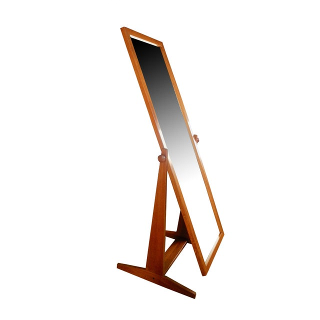 Brown Vintage Danish Modern Teak Full Length Floor Mirror by Pedersen & Hansen For Sale - Image 8 of 13