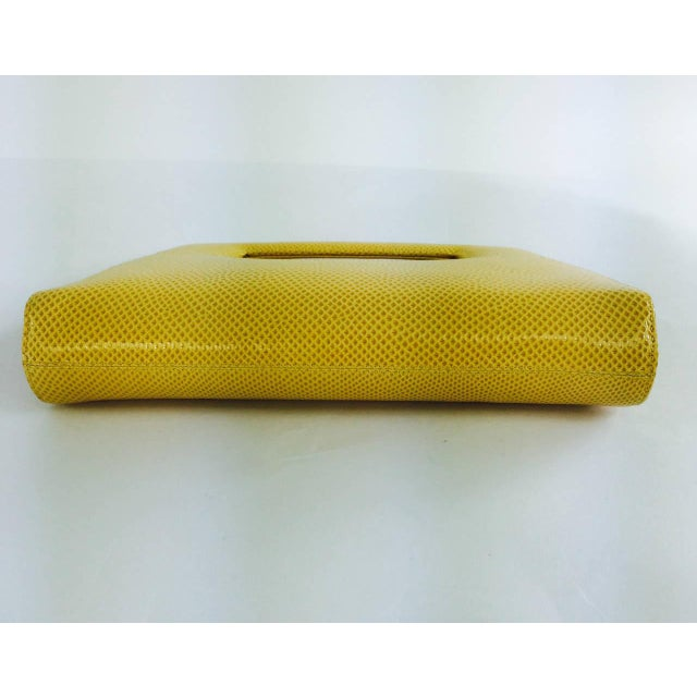 Animal Skin Judith Leiber Yellow Karung Structured Handle Clutch Handbag For Sale - Image 7 of 10