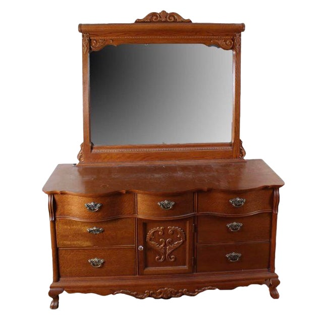 Lexington Victorian Sampler Collection Dresser With Mirror For Sale