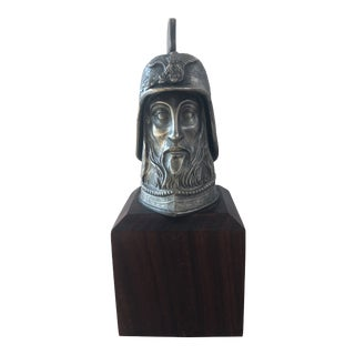 Vintage Spartan Warrior Head Sculpture Bust With Helmet For Sale