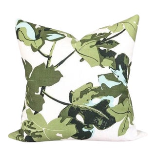 Peter Dunham Fig Leaf Outdoor Pillow Cover, White For Sale