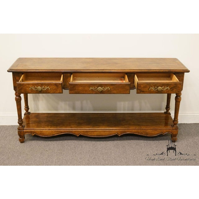 Late 20th Century Vintage Hickory Manufacturing French Oak Console Table For Sale In Kansas City - Image 6 of 13