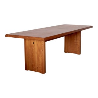 Large Pierre Chapo T19 Dining Table in Solid Elm For Sale