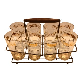 Gold Gilt Highball Glasses, Set of 8, W/ Carrier, For Sale