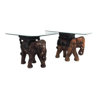 Late 20th Century Anglo Indian Hand Carved Wood Elephant Side Tables, Glass Tops - a Pair For Sale