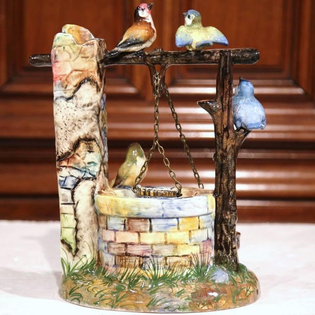 19th Century Hand-Painted Barbotine Majolica Well Sculpture With Birds Signed J. Massier - Image 8 of 10