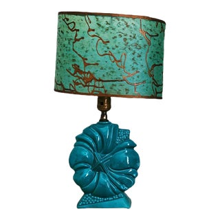Mid-Century Modern Turquoise Ceramic Lamp With Original Fiberglass Lampshade For Sale