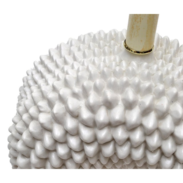 1970s Hollywood Regency White Porcelain Cactus Table Lamp With Brass Base For Sale - Image 5 of 10