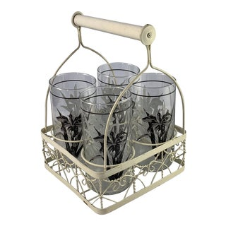 Vintage Mid-Century Libbey Glassware With Caddy - 5 Piece Set For Sale
