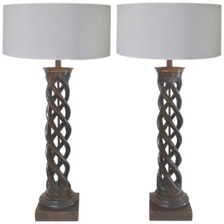 James Mont Carved Double Helix Spiral Wood Lamps - a Pair