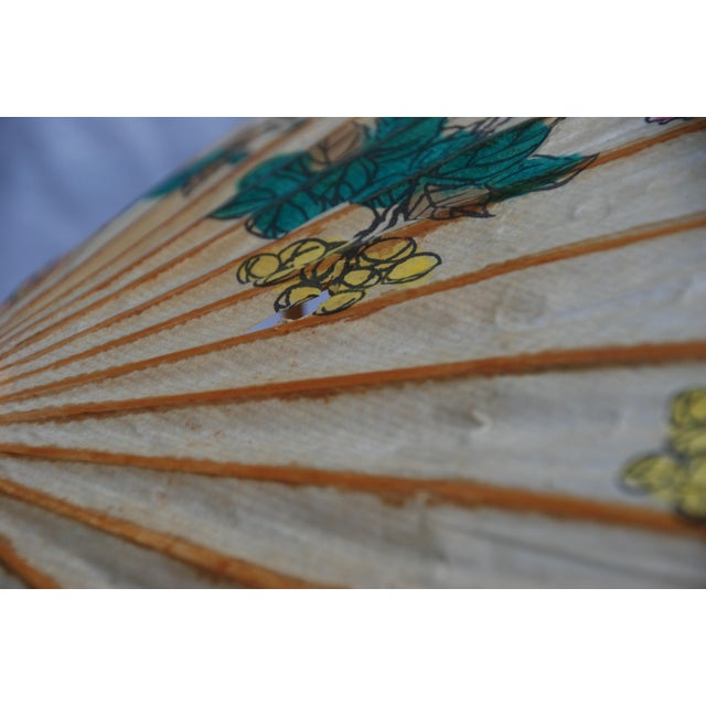 Vintage Asian Rice Paper Floral Umbrella - Image 9 of 10