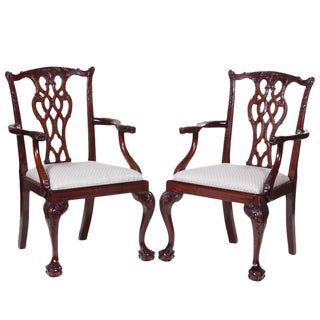 20th Century Mahogany Chippendale Arm Chairs - A Pair