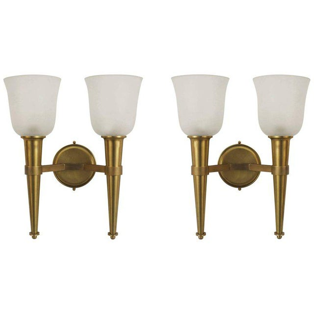 French 1940s Brass Torch Design Wall Sconces - a Pair For Sale - Image 4 of 4