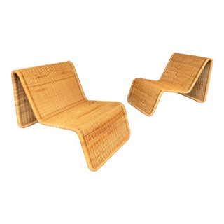 Pair of Rattan Lounge Chair P3 by Tito Agnoli, Italy, 1960s For Sale