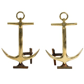Pair of Anchor Andirons by Puritan For Sale