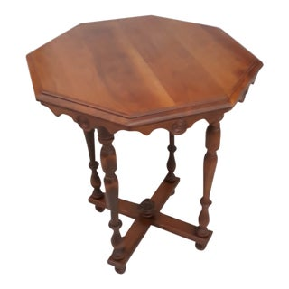 Mid-Century Modern Octagon Wood End Table For Sale