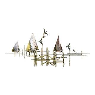 Paul Evans Style Brutalist Seascape Sailboat Metal Sculpture Wall Art For Sale
