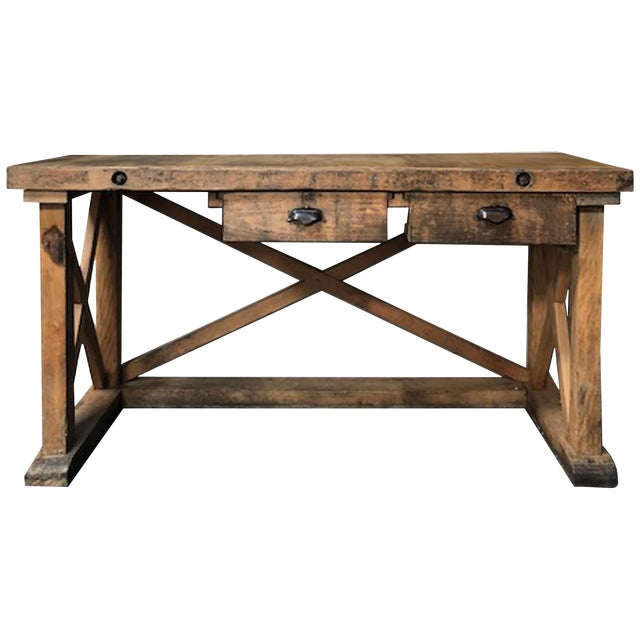 Late 19th Century French Rustic Wood Sideboard Work Table For Sale