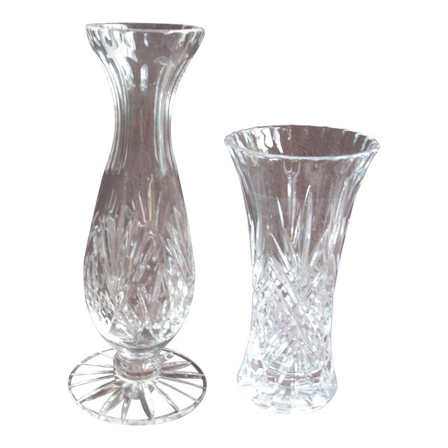 Pressed Glass Vases - A Pair For Sale