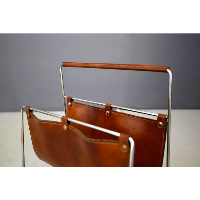 Metal Carl Auböck II MidCentury Magazine Holder in Leather and Steel, 1950's For Sale - Image 7 of 11