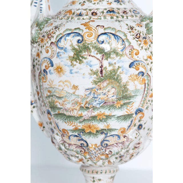 Ceramic 18th Century French Faience Lidded Urn For Sale - Image 7 of 11