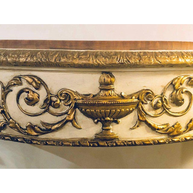 Painted Console or Demilune Table Fine Wood Top Louis XV Style by Maison Jansen For Sale - Image 10 of 13