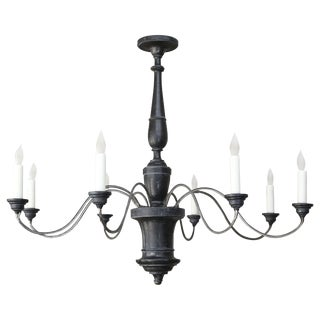 Ebonized Wood and Iron Chandelier For Sale