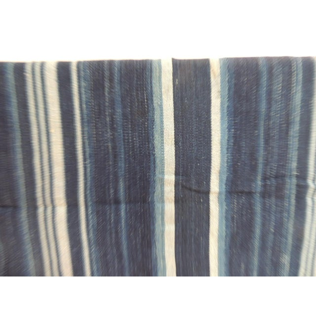 African Vintage Yoruba and Baule Warp Ikat Indigo and Light Blue Stripes Cloth For Sale - Image 3 of 5