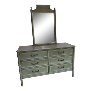 20th Century Chinoisere Henry Link Bali Hai Faux Bamboo Dresser With Mirror For Sale