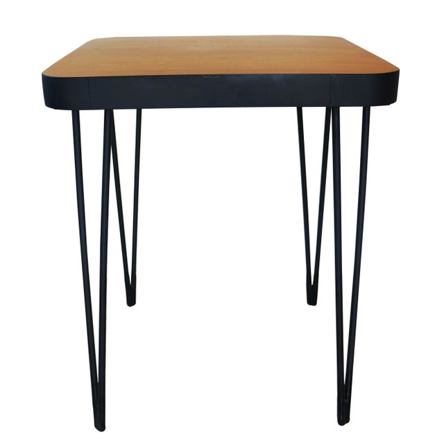 This Mid-Century style side table features a clear-coated maple veneered plywood top, rounded corners and hairpin legs...