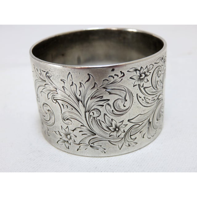 Gothic Large Antique Sterling Silver Napkin Ring For Sale - Image 3 of 5