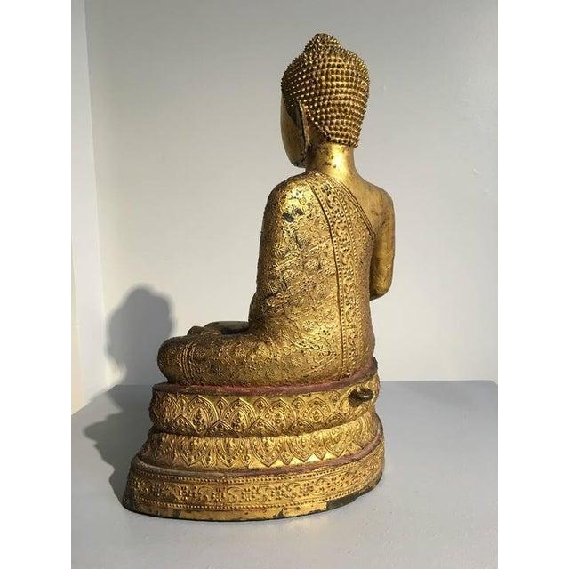 Thai Rattanakosin Lacquered Gilt Bronze Image of Buddha Maravijaya For Sale - Image 4 of 10