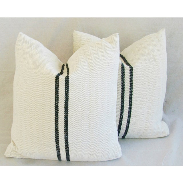 French Grain Sack Down & Feather Pillows - Pair - Image 3 of 10