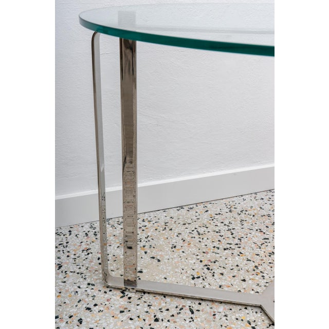 Late 20th Century Glass and Steel Round End Tables - a Pair For Sale - Image 5 of 7