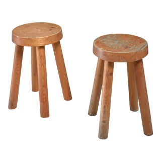 Charlotte Perriand pair of four legged pine stools, France, 1960s For Sale