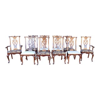 Set 10 1990s Thomasville Chippendale Style Dining Room Chairs #20261-871-872 For Sale