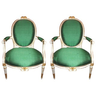 Pair of Louis XVI Parcel Gilt Fauteuil's, 18th Century For Sale
