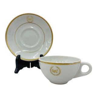 Vintage Gold & White Porcelain Tea Setting - a Pair For Sale