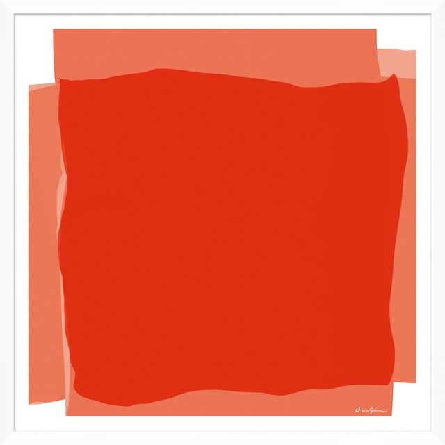 """Contemporary """"Blocked in Coral"""" By Dana Gibson, Framed Art Print For Sale - Image 3 of 3"""