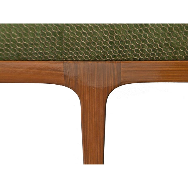 Not Yet Made - Made To Order Walnut Bench With Laser Cut Cowhide Upholstered Seat For Sale - Image 5 of 7