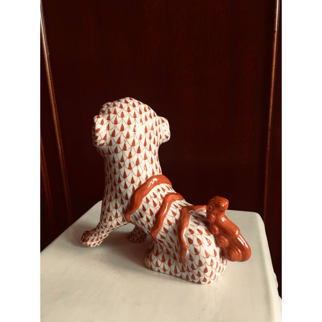 Herend Herend Rust Colored Fishnet Pattern Foo Dog Figurine For Sale - Image 4 of 11