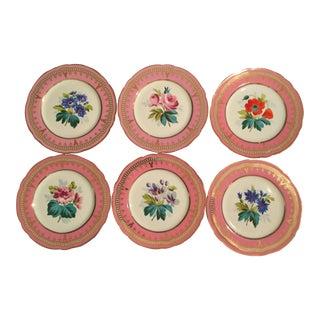 Mid-Century Botanical Salad/Dessert Plates With Pink & Gold Rims - Set of 6 For Sale