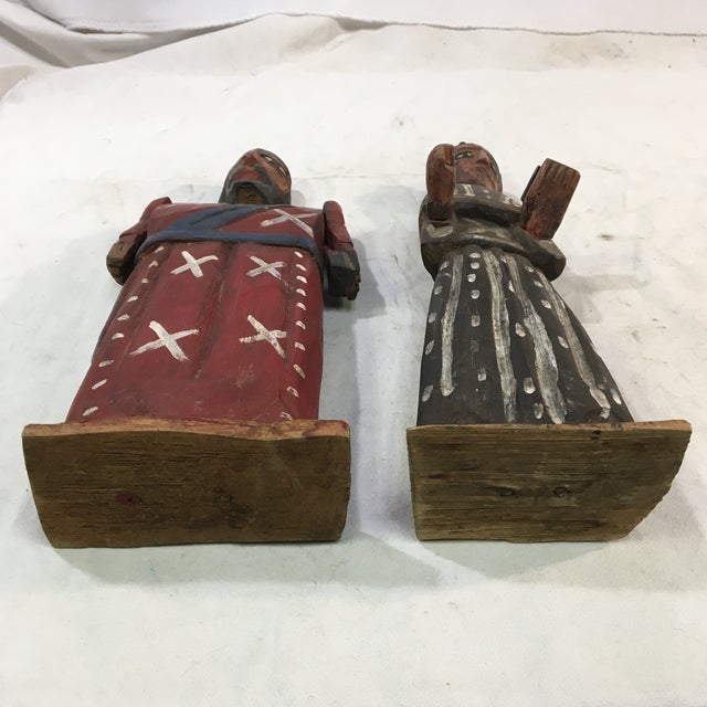 Vintage St. Peter & St. Paul Wood-Carved Hand-Painted Christian Icon Santos Figures - a Pair For Sale - Image 11 of 12