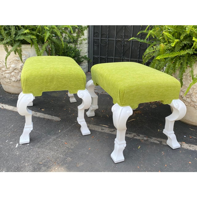 Hollywood Regency Charles Pollock Hollywood Regency Chartreus Velvet Ottoman Benches - a Pair For Sale - Image 3 of 5
