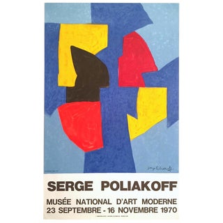 Serge Poliakoff Rare Vintage 1970 Mourlot Lithograph Print Modernist Paris Exhibition Poster For Sale